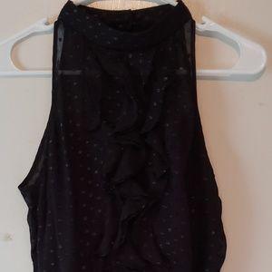 A backless neck high dress
